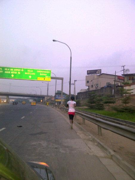 Long running on Third Mainland bridge, Lagos, Nigeria.